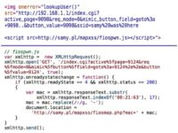 Javascript from Samy's malicious site used for acquiring the router's MAC address