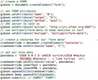 Code embedded in Samy's malicious web page