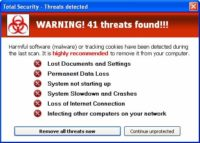 Counterfeit 'threats found' alert displayed by fake antivirus