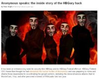News article on HBGary hack by the Anonymous