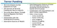 Terror funding specificities