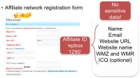 Affiliate network registration form