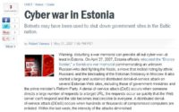 News report on cyber attack against Estonia in 2007