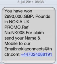 Mobile scam message