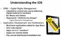 DRM control and application restrictions of the iOS