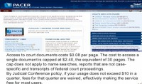Cost of court related information on Pacer.gov