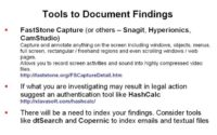 List of tools to document findings