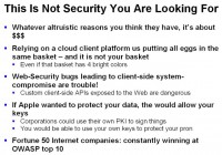 Pitfalls of security provided by Apple and Google client platforms