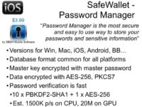 Details on SafeWallet password app
