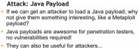 Attack via Java payload