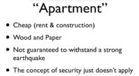 Security characteristics of a Japanese apartment
