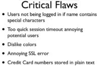 Critical software flaws identified during the meeting