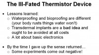 Lessons learned from experimenting with thermistor device