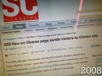 News headline about cross-site scripting on Obama homepage