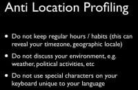 Avoid geographic profiling