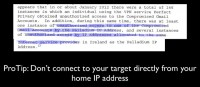 Don't use home IP address when connecting to target