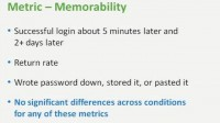 Results on password memorability