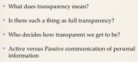 Questions on trust and transparency