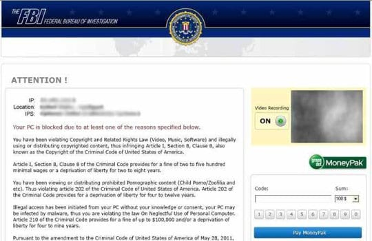 Earliest and most prevalent FBI MoneyPak virus block screen
