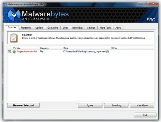 Malwarebytes Anti-Malware - scan report