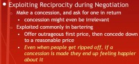 Exploiting reciprocity in negotiation scenarios