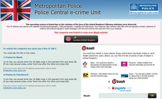 PCeU Metropolitan Police block screen