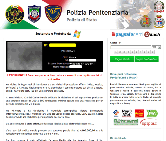 Reveton mimicking the Italian Polizia Penitenziaria