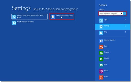 Add or remove programs on Windows 8