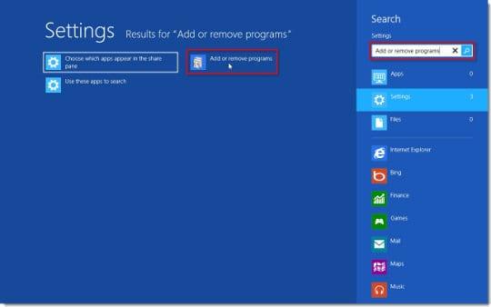 Add or remove programs on Windows 8