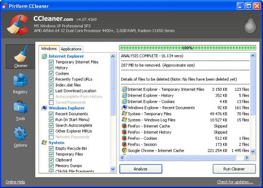 Run OS and application analysis with CCleaner
