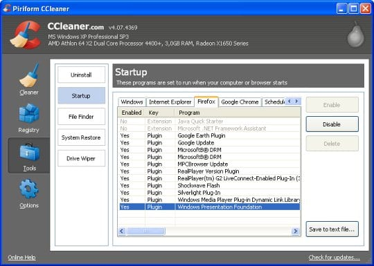 CCleaner - list of startup entries