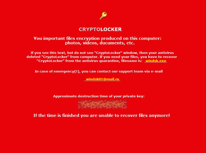 Alert displayed by PCLock, a competently designed CryptoLocker version