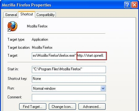 Remove Start.qone8.com from Firefox shortcut settings