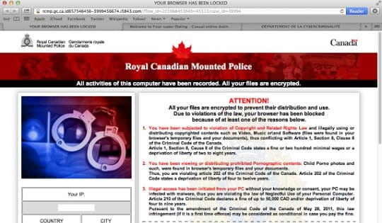 Royal Canadian Mounted Police virus hijacking Safari on Mac OS
