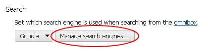 Access Manage search engines interface in Chrome