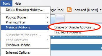 Access Manage Add-ons interface in IE