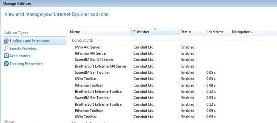 Remove Conduit's entries from Internet Explorer add-ons