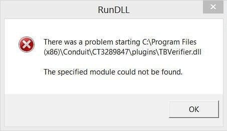 TBVerifier.dll error popup