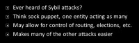 Sybil attacks
