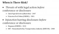 Risks before disclosure