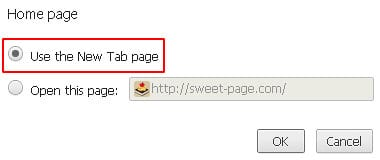 Activate the Use the New Tab page option