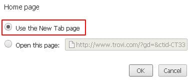 Select Use the New Tab page option