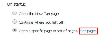 Select Set pages option