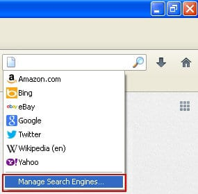 Trigger the Manage Search Engines interface