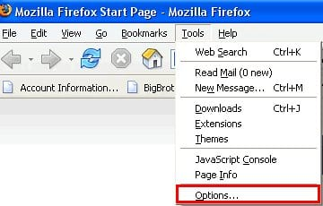 Go to Options under Tools in Mozilla