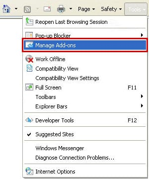 Go to Manage Add-ons in IE