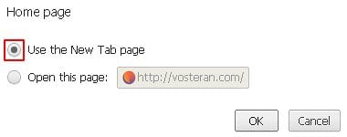 Chrome's Use the New Tab page