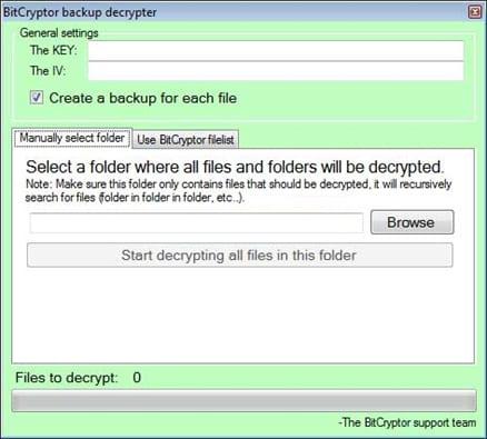 The BitCryptor backup decrypter tool
