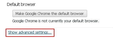 Go to advanced settings in Chrome