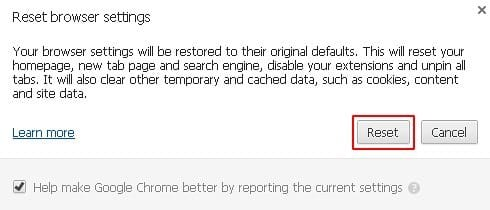 Finish resetting Chrome